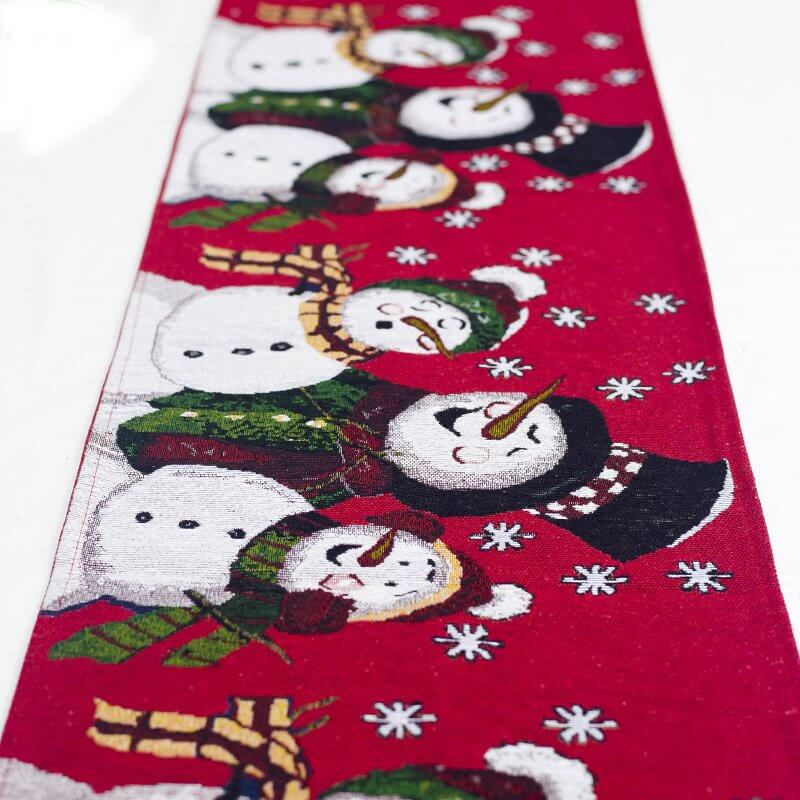 35cm x 180cm Woven Jacquard Tapestry Christmas Table Runner with Tassel - Snowman