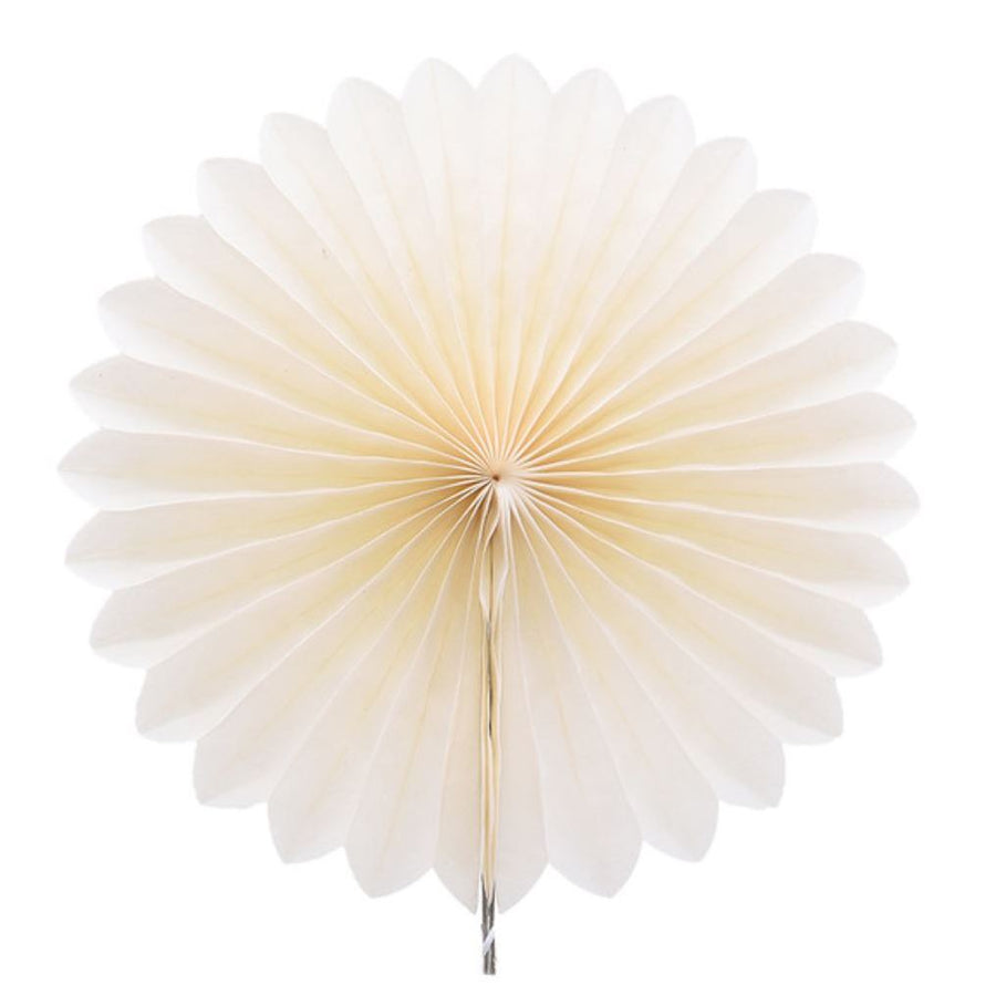 Cream White Tissue Paper Fan - 6 Sizes