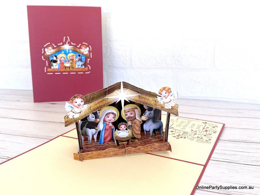 Online Party Supplies Australia Cute Christmas Nativity Scripture 3D Pop Up Xmas Card For Kids