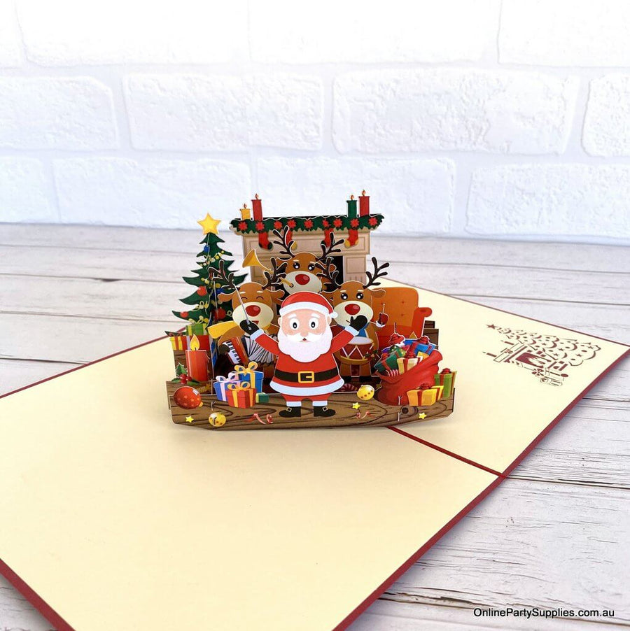 Darling Christmas Reindeer Party with Santa Pop Up Card