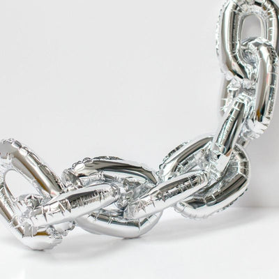 "16"" Online Party Supplies Silver Foil Chain Balloon Links for Hip Hop Dance Disco 80s 90s themed party decorations"