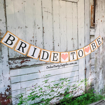 DIY Rustic Bride To Be Paperboard Banner - Online Party Supplies