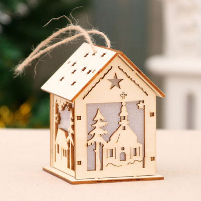 DIY Wooden Christmas Hanging LED Light House - Online Party Supplies
