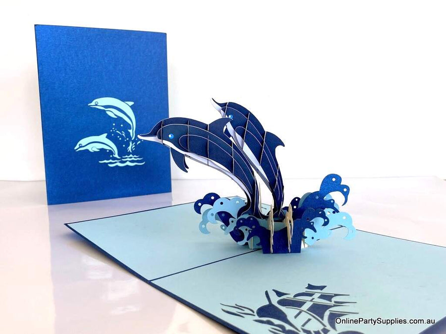 Dolphin Couple Jumping in Waves 3D Pop Up Greeting Card - Valentine's Day Pop Up Cards