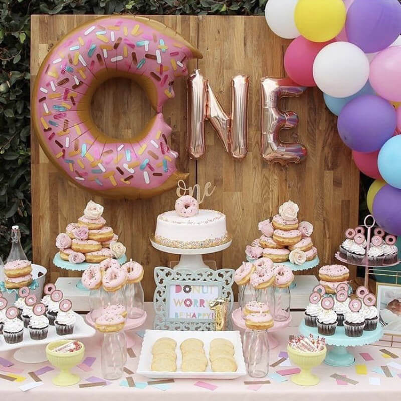 Rose Gold ONE Donut Letter Foil Balloon Banner