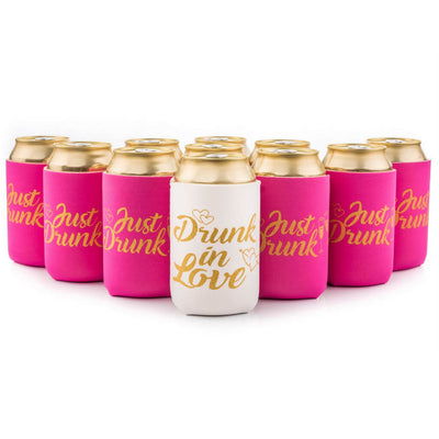 Online Party Supplies White & Pink Drunk In Love Bachelorette Hen Party Stubby Holder Pack of 11