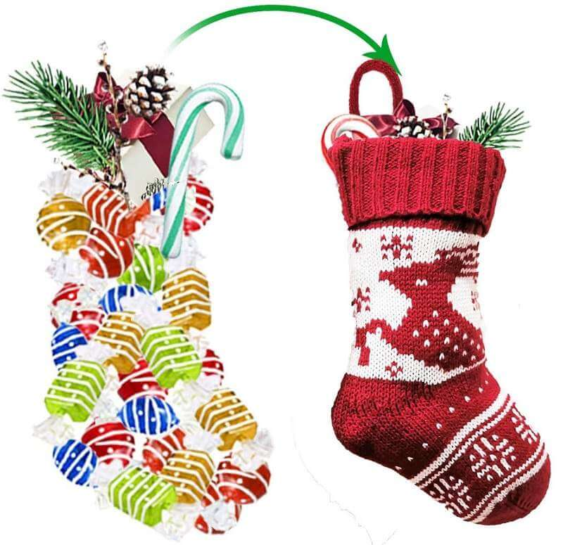 Red & White Knit Classic Christmas Hanging Stocking