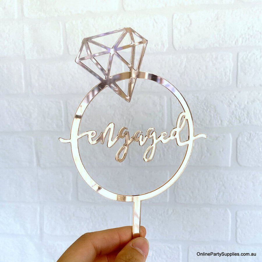 Rose Gold Mirror Acrylic 'Engaged' Diamond Ring Cake Topper