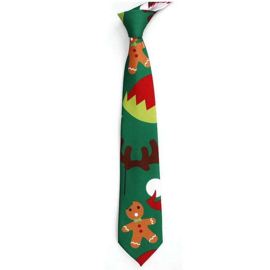Deluxe Green Gingerbread Man Christmas Tie for Men - Xmas Novelty and Costume Accessories