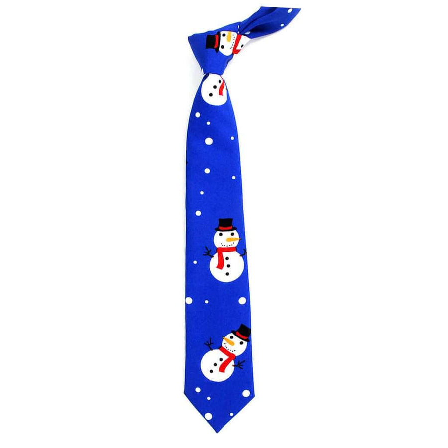 Deluxe Christmas Tie for Men - Blue Snowman
