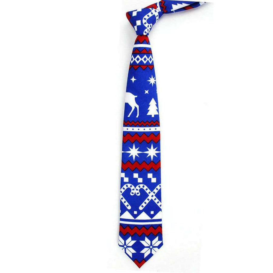 Deluxe Blue Christmas Tie for Men - Xmas Novelty and Costume Accessories