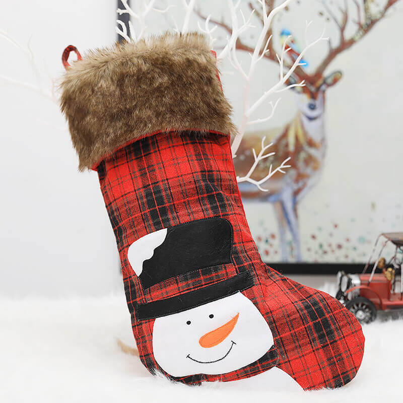 Faux Fur Felt Red & Black Check Buffalo Plaid Christmas Stocking