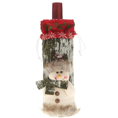 Faux Fur Snowman Moose Santa Claus Christmas Wine Bottle Cover Bag with buttons - Online Party Supplies