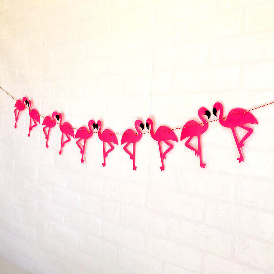 Online Party Supplies DIY Pink Felt Flamingo Bunting Garland for Hawaiian Luau Party