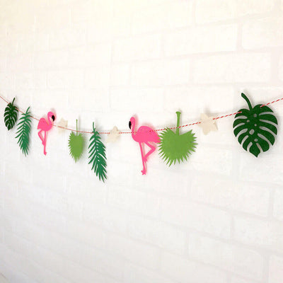 Online Party Supplies DIY Felt Flamingo with Palm Leaf Bunting Garland for Hawaiian Luau Party