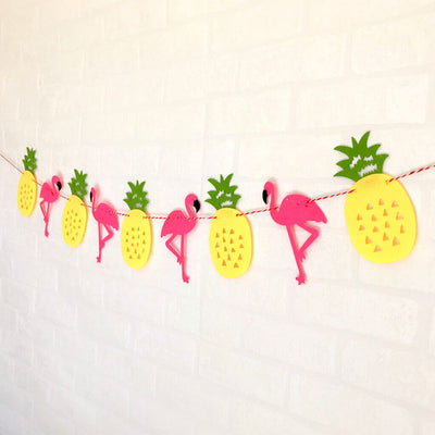 Online Party Supplies DIY Felt Flamingo with Pineapple Bunting Garland for Hawaiian Luau Party