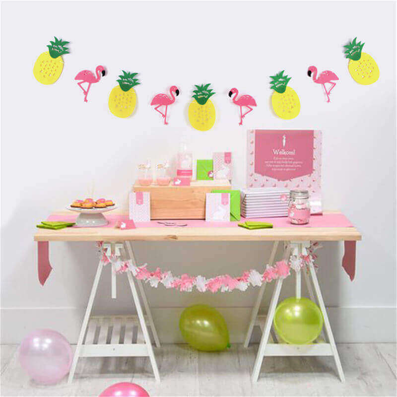 Felt Flamingo with Pineapple Bunting Garland