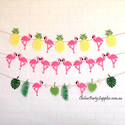 Online Party Supplies DIY Felt Flamingo with Palm Leaf and Pineapple Bunting Garland for Hawaiian Luau Party