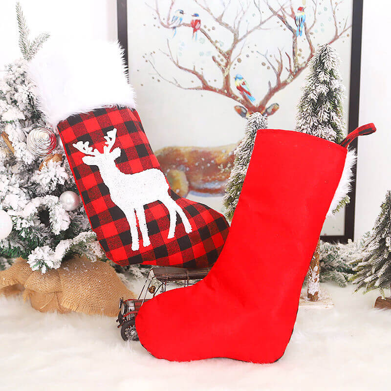 Large Felt Red & Black Check Buffalo Plaid Christmas Stocking