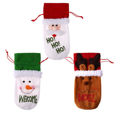 Flannel Snowman Welcome Santa Ho Ho Moose Noel Christmas Wine Bottle Cover - Online Party Supplies