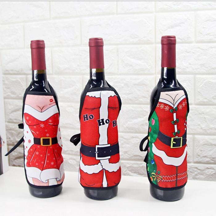 Funny Cute Christmas Bottle Wine Cover Mini Apron 10 Designs - Online Party Supplies