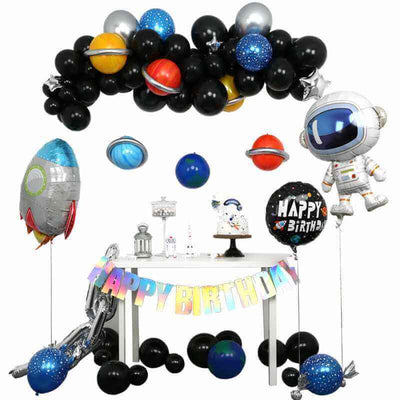 Outer space astronaut solar system rocket planets themed party decorations ideas