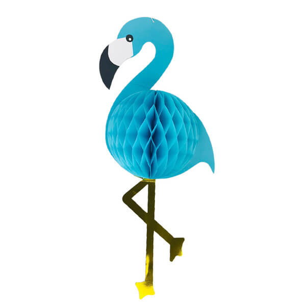 Giant Blue Tropical Flamingo Paper Honeycomb