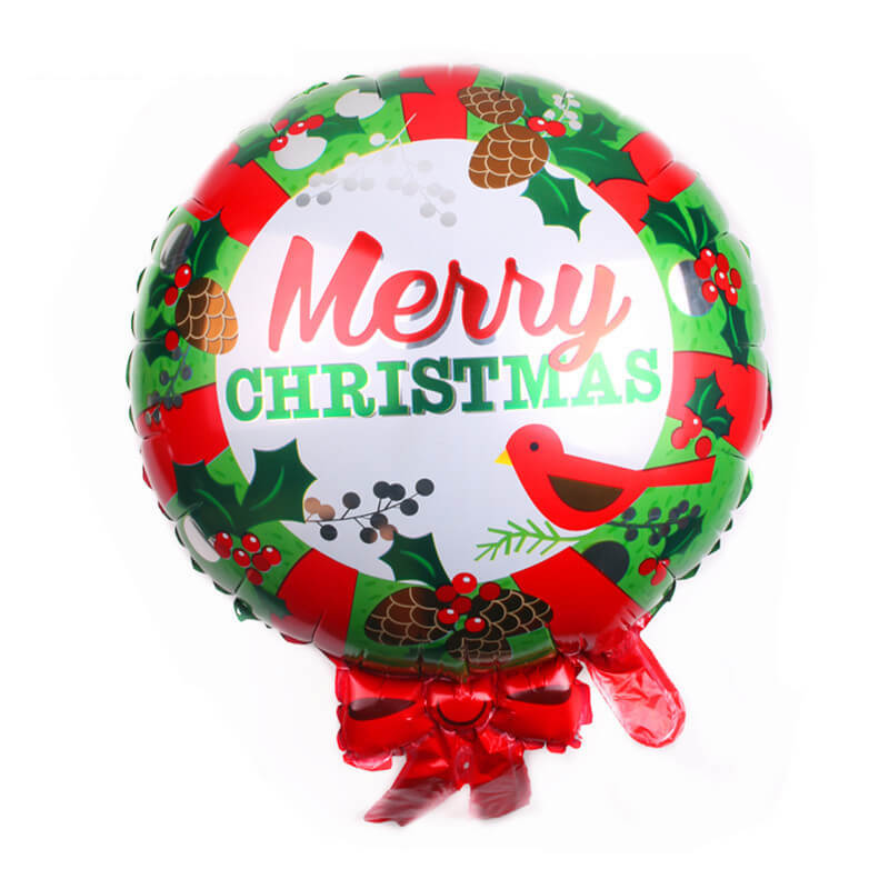 Large Merry Christmas Wreath Shaped Foil Balloon -  Christmas Tree Hanging Decorations / Xmas Party Decorations