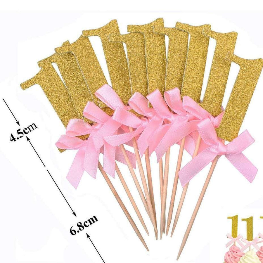 Gold Glitter Number One Paper Pink Ribbon Cupcake Topper 6 Pack