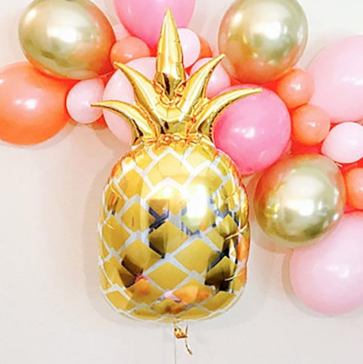 Gold ALOHA With Gold Pineapple Foil Balloon Banner - Online Party Supplies