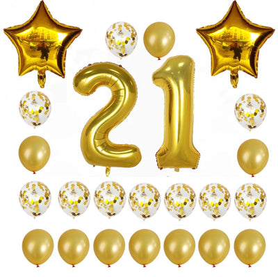 Gold Birthday Number 21 Foil Balloon Bouquet (Pack of 24pcs) - Online Party Supplies