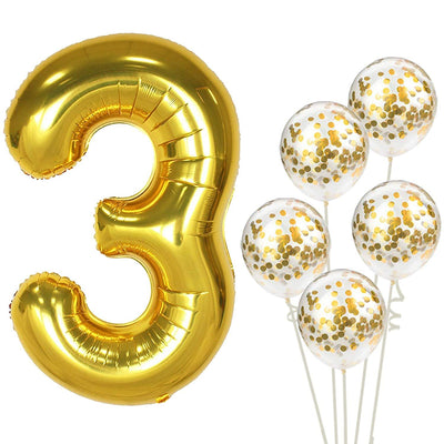 Gold Birthday Number 3 Foil Balloon Bouquet (Pack of 6pcs) - Online Party Supplies