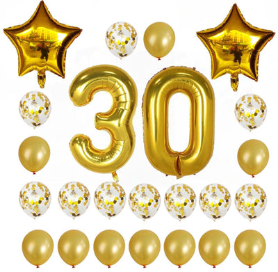 Gold Birthday Number 30 Foil Balloon Bouquet (Pack of 24pcs) - Online Party Supplies