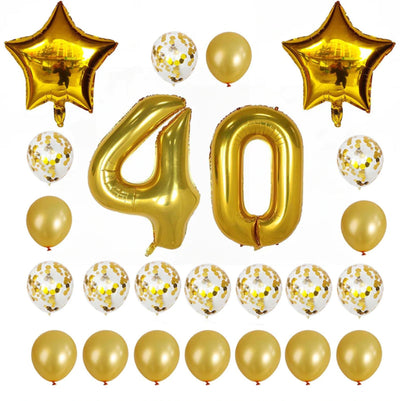Gold Birthday Number 40 Foil Balloon Bouquet (Pack of 24pcs) - Online Party Supplies