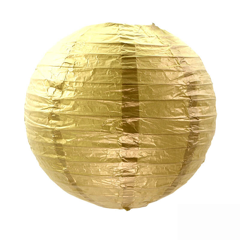 Metallic Gold Chinese Paper Lantern - 4 Sizes