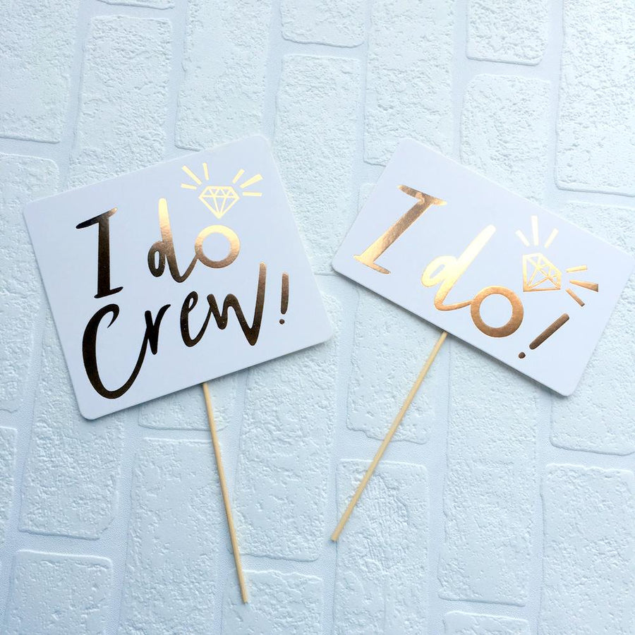 Gold Foil I Do Crew Bachelorette Party Photo Booth Props - Online Party Supplies