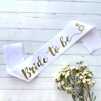 White Gold Foiled Bride To Be Satin Sash - Online Party Supplies