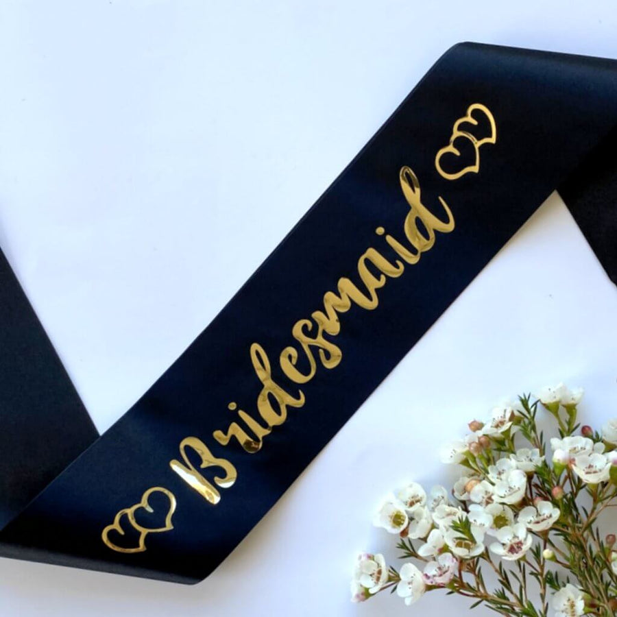 Black Bachelorette Party Sashes with Gold Foil Print
