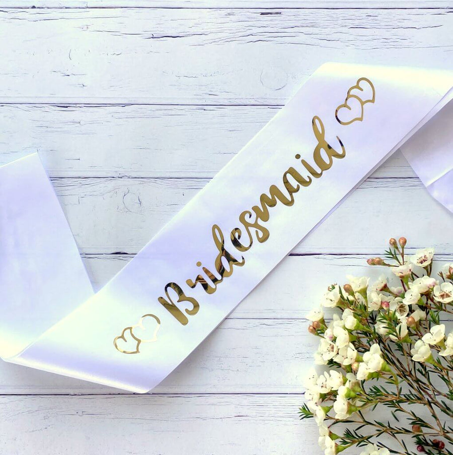 White Bridesmaid with Hearts Hen Party Satin Sash - Gold Foil Print