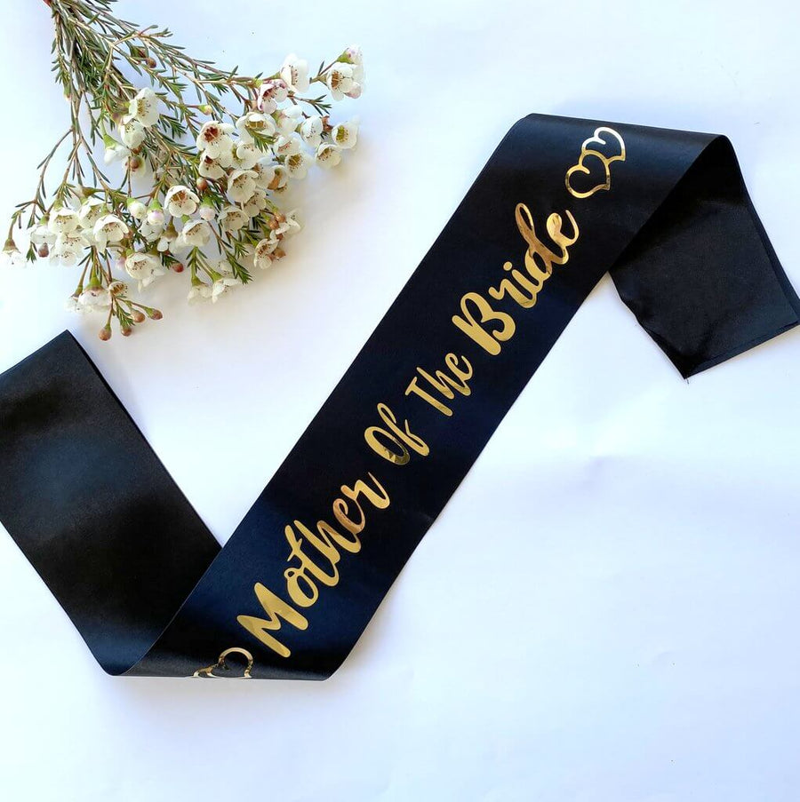 Black 'Mother of the bride' with Hearts Hen Satin Sash