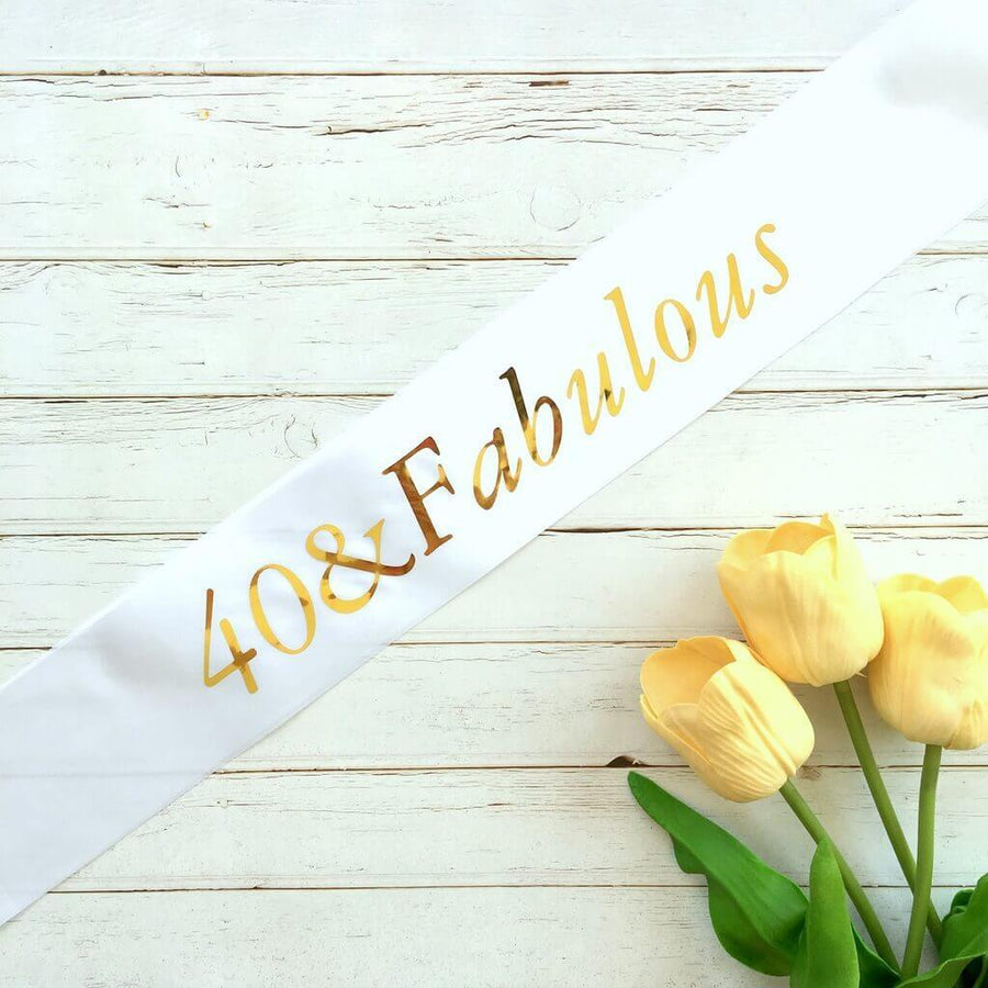 Online Party Supplies Gold Foil '40 & Fabulous' White Satin Party Sash Happy Milestone 40th Fortieth Birthday Girl Outfit
