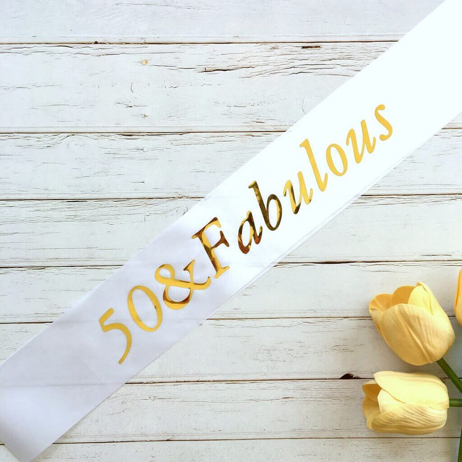 Online Party Supplies Gold Foil '50 & Fabulous' White Satin Party Sash Happy Milestone 50th Fiftieth Birthday Girl Outfit