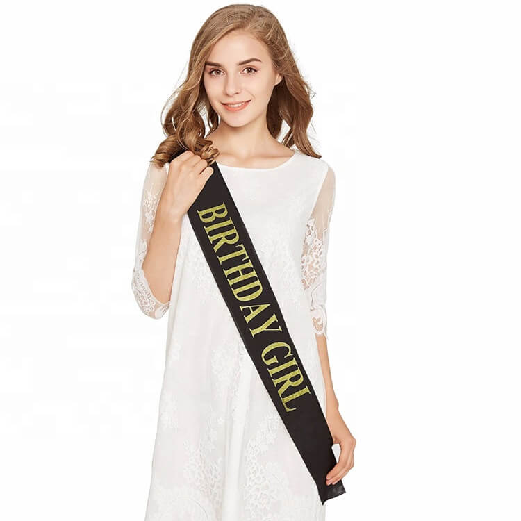 Online Party Supplies Gold Glitter 'Birthday Girl' Luxurious Black Satin Sash