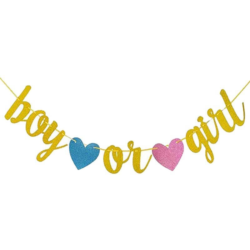 Gold Glitter 'Boy or Girl' with Hearts Baby Shower Gender Reveal Bunting Banner