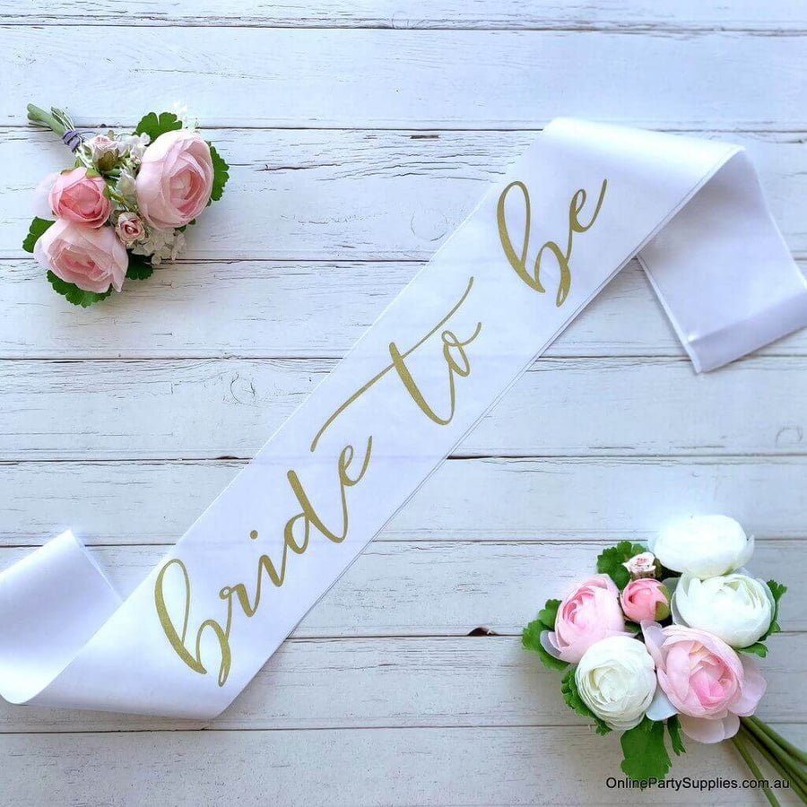White 'Bride To Be' Bachelorette Party Satin Sash - Gold Print