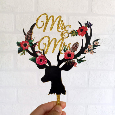 Gold Glitter Acrylic 'Mr & Mrs' Floral Antler Wedding Bridal Shower Engagement Cake Topper