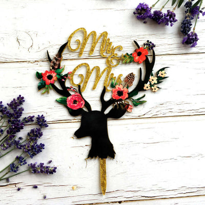 Gold Glitter Acrylic 'Mr & Mrs' Floral Antler Wedding Bridal Shower Cake Topper