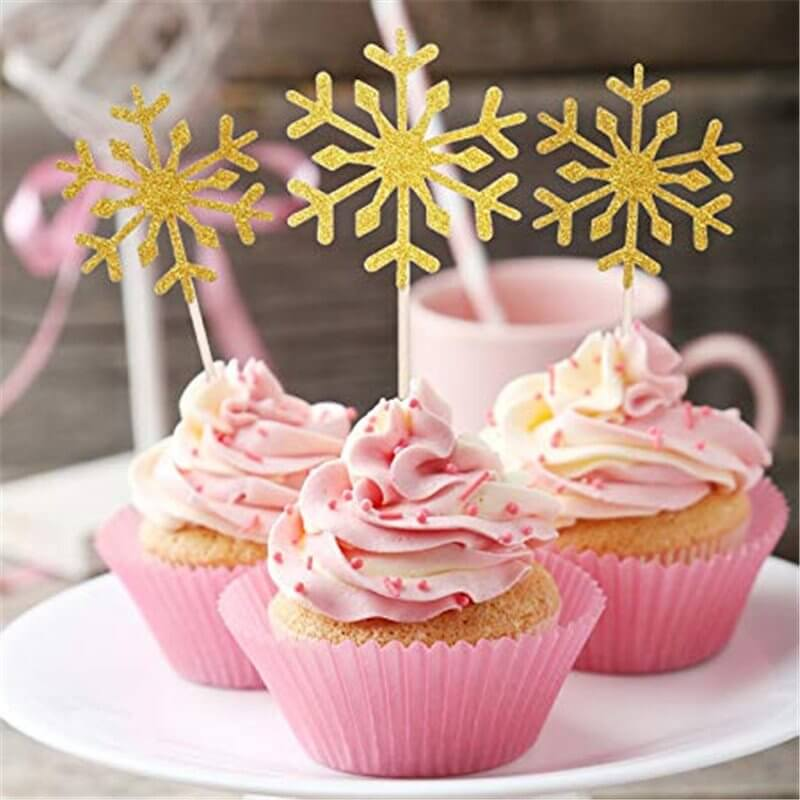 Gold Glitter Snowflake Paper Cupcake Topper 10 Pack