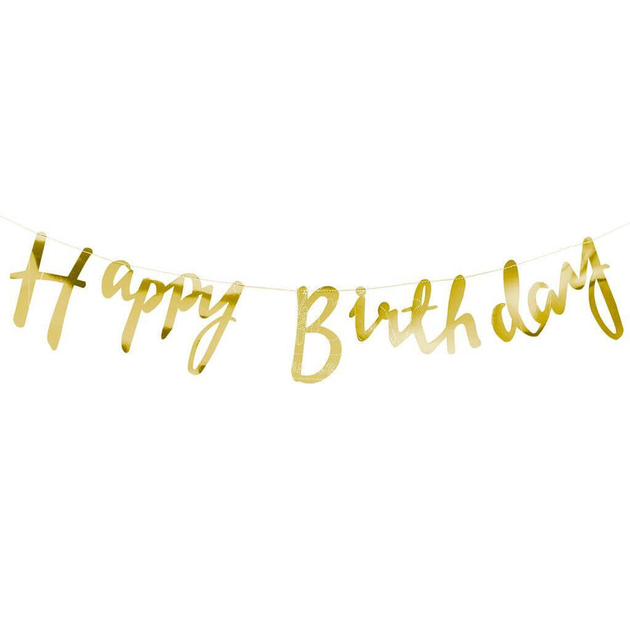 Gold Foil Happy Birthday Bunting Garland