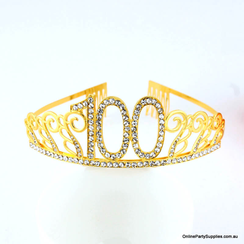 Gold Metal Rhinestone Happy 100th Birthday Tiara
